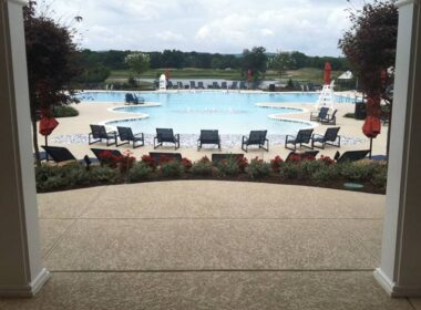 knockdown finishes for concrete on a pooldeck