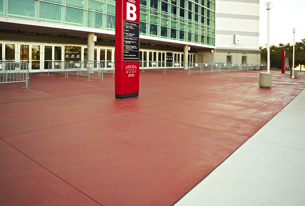 Part of an extensive renovation at the Georgia Dome, home of the Atlanta Falcons, this concrete was given a facelift using L. M. Scofield Co.'s Scofield Revive Color Refresher in a custom color.