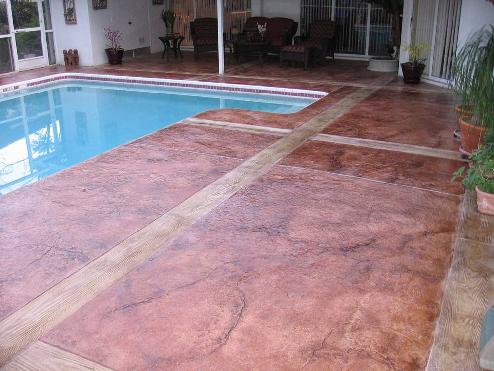 stamped overlay on a pool deck is a great candidate for fixing slippery stamped concrete