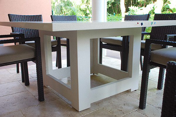 Concrete table made with GFRC