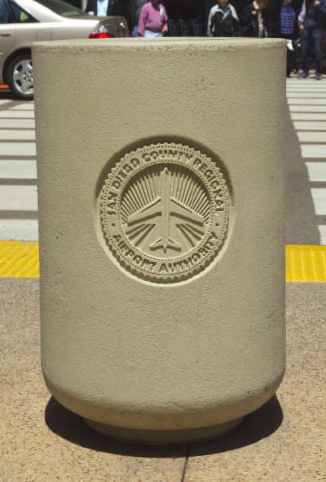 Bollards, benches, planters and trash cans were made by California-based Quick Crete Products Corp.