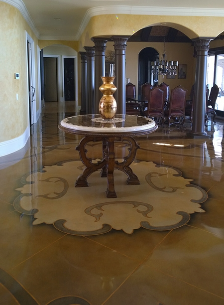The design of this table inspired all of the visual elements of the foyer. This was the first time Rick Lobdell had ever used a table for inspiration.