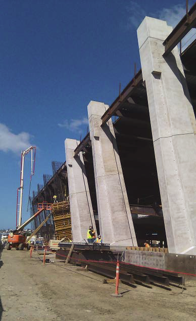 The finished concrete pillars at Terminal 2.