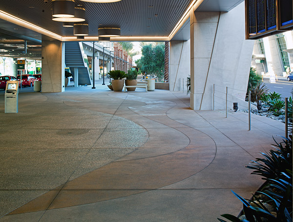 Concrete walkways with glass, pyrite and granite aggregate