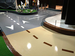 Decorative concrete go-cart track at Legoland