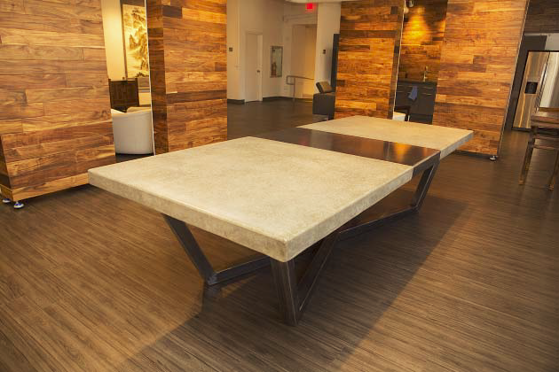 A concrete dining room table.
