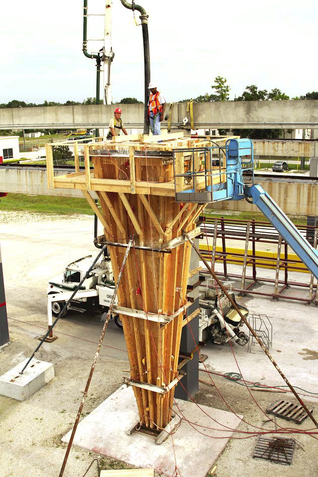 A pump was used to place concrete in formwork for the steeple for an LDS church in Davie, Florida.