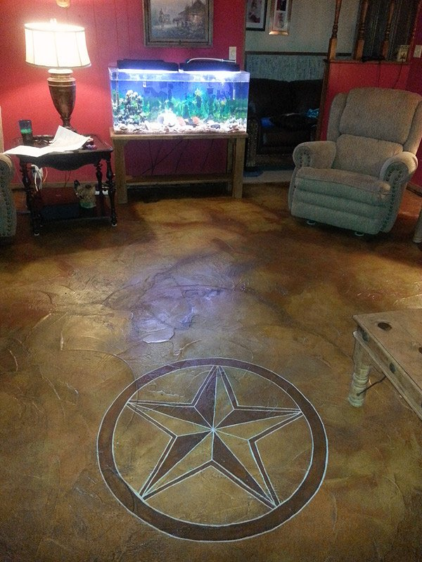 Concrete Questions Correcting Acid Stain Colors - A DIYer used a mild acid solution to remove some orange from this acid stained concrete floor, then added darker stain colors to correct the acid stained concrete floor. Photos courtesy of Candace Reese