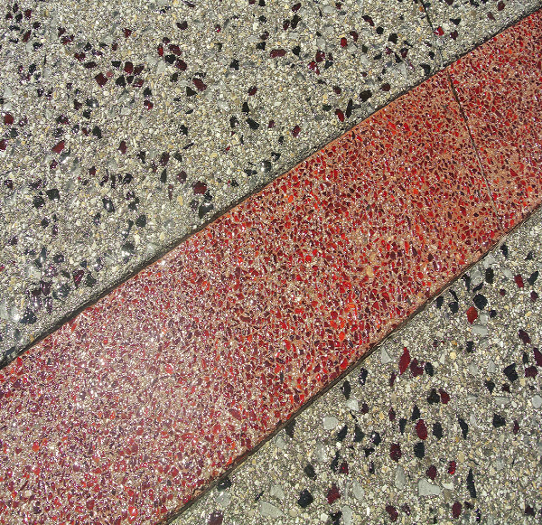 The Switch SuperNAP data center includes decorative concrete areas that are integrally colored and glass-seeded.