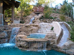 Artificial waterfall and pool- Concrete Decor Magazine
