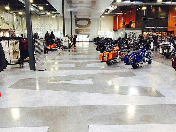 The new Harley Davidson showroom on Las Vegas Boulevard South is sealed with GST International's Wet Look Lacquer HG, a solvent-based, high-gloss, penetrating sealer.