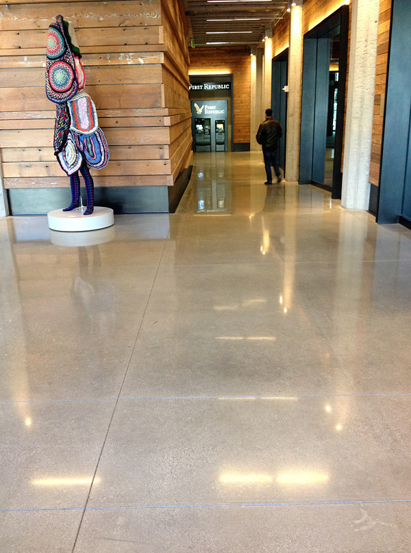 Highly polished concrete floor
