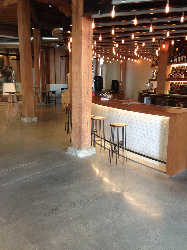 Integrally colored diamong polished concrete floor