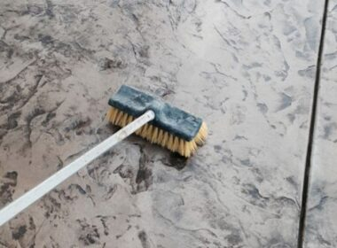 a brush on concrete sealing it