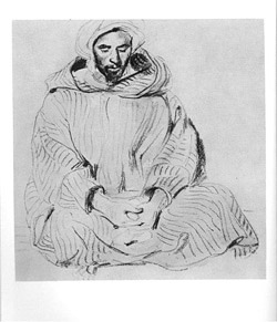 Pencil drawing of Arab Praying, by Eugene Delacroix, from Modern Prints and Drawings by Paul J. Sachs, published in 1954 by Alfred A. Knopf