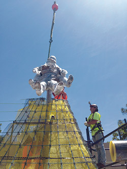 Positioning the soldiers at the Scaffolding for the Navy Corpsmen Memorial at Camp Pendleton