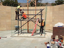 Setting up the scaffolding for the Navy Corpsmen Memorial Concrete Statue at Camp Pendleton