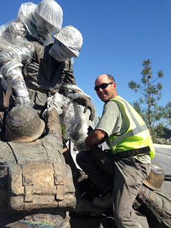 Concrete contractor working on the Navy Corpsmen Memorial at Camp Pendleton