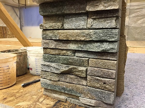 Sheets of Stack Stone Veneer made of concrete allow air to moved between it and the structure it is applied to.