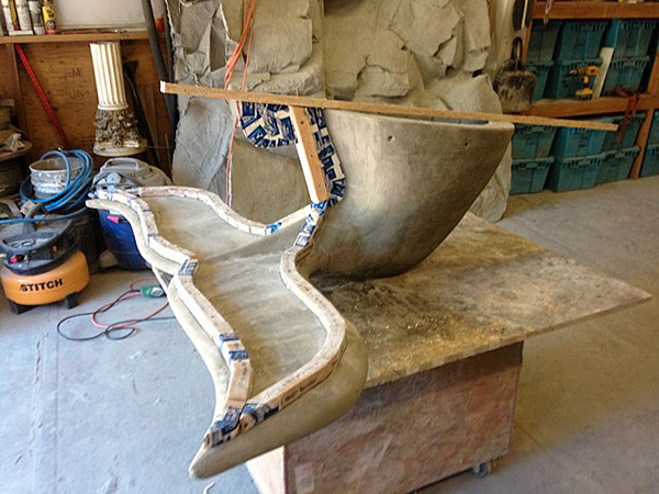 Forming a Concrete Bench in the Shape of a Whale's tail