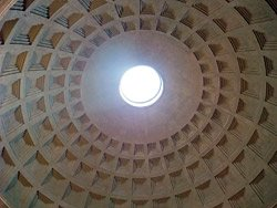 The Pantheon's unreinforced concrete dome is 142 feet in diameter.