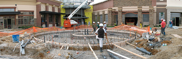 construction of fountain area at Greenwood Park Mall
