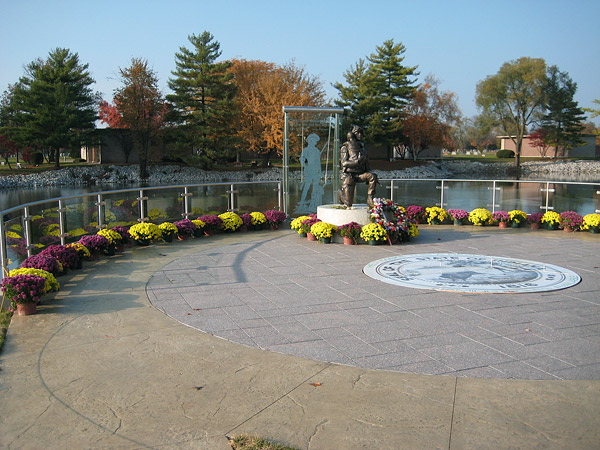 stamped concrete plaza memorial
