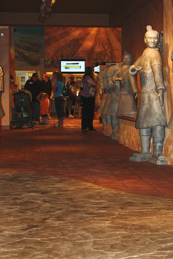 National Geographic Treasures of the Earth, the permanent exhibit is floored with what resembles old mud or earthen sandstone throughout the passageways and burial chamber.