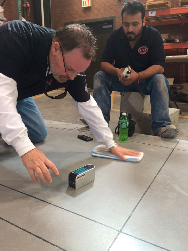 measuring concrete gloss
