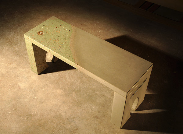 concrete bench with art