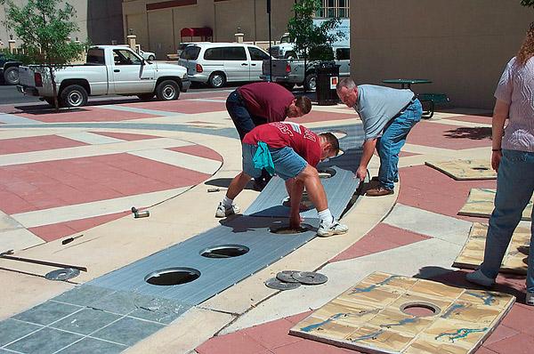 placing decorative drains