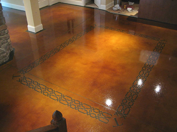 brown floor with center bordered square