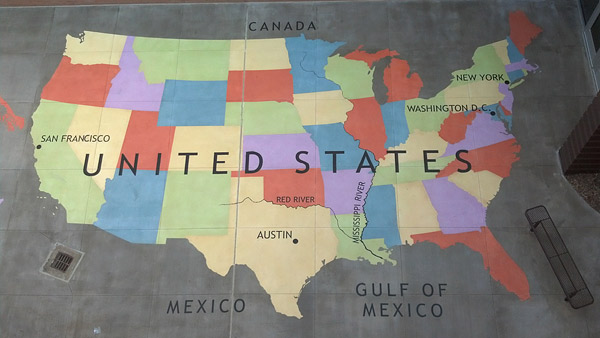 stenciled concrete map of the United States