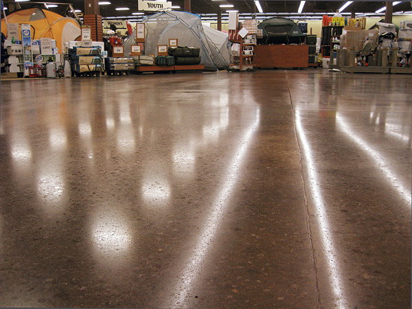 shiny brown floor in industrial space