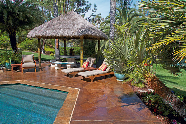 brown shimmer pool deck with canopy