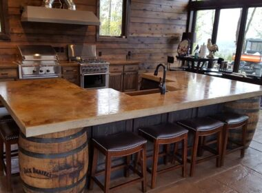 Concrete countertop in a whiskey themed kitchen