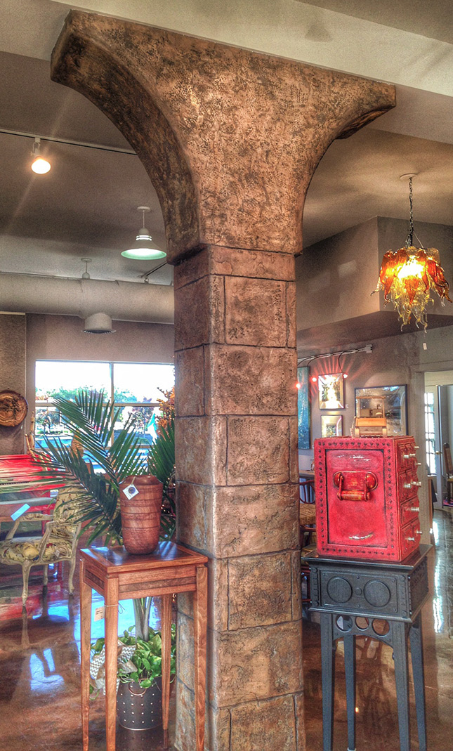 Decorative concrete column in a restaurant