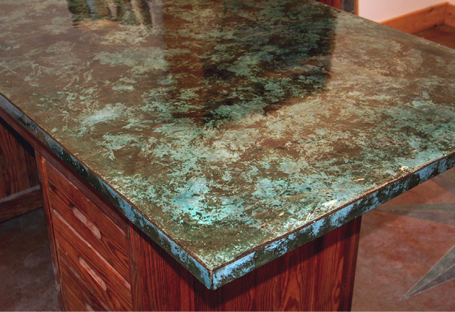 Blue and green rustic kitchen countertop coating.