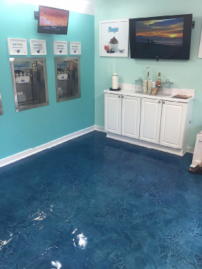 Navy metallic epoxy floor in a frozen yogurt cafe