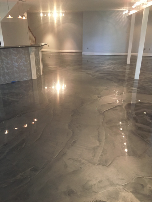grey stained looking floor in apartment