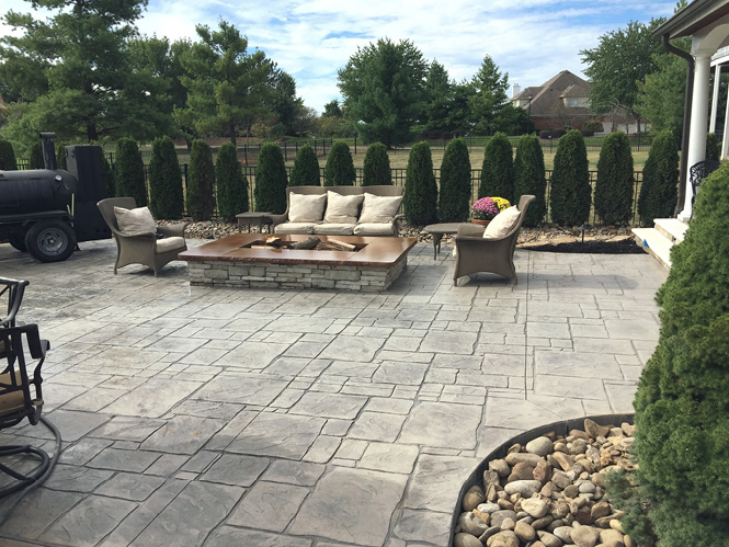 grey stamped concrete outdoor patio