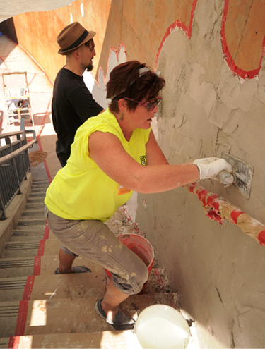 cindee lundin starting bas relief at concrete decor show