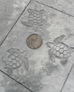 grey concrete with turtle design