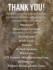 manufacturers who donated products to outdoor area