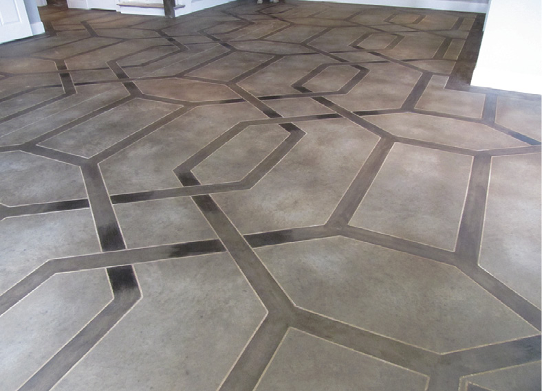 brown ribbon border pattern on concrete floor
