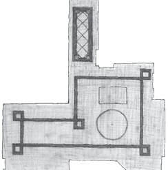 blueprint of room with a stained concrete ribbon design element