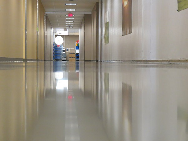 Lavina concrete polishing machines were used on this hospital floor to get the reflective sheen