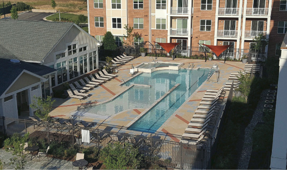"They cited the overlayment texturing as ""textbook"" and were impressed how the running patterns continued across the pool to maintain consistency."