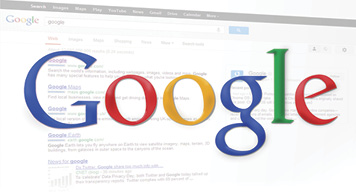 Google Logo with web page search background.
