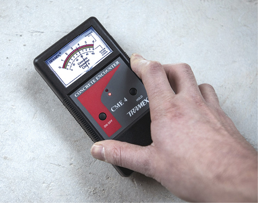using a Tramex CME4 as a tool for remediating moisture in concrete
